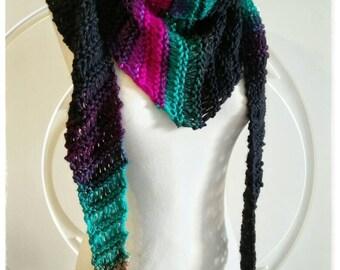 Original triangular scarf in shades of black, Orange, green, and Fuchsia.