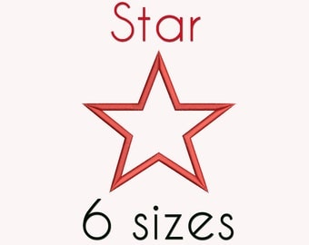 Star Applique Embroidery Design, 6 Sizes, Basic Shape DIGITAL INSTANT DOWNLOAD 053