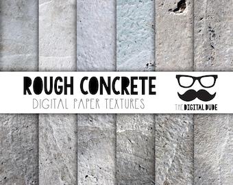 Premium Digital Paper Set, Rough Concrete, Digital Paper, Scrapbook Paper, Concrete Texture,  Instant Download