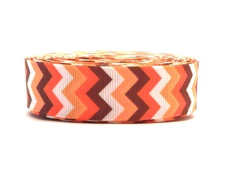 Autumn Chevron, Fall Chevron, Fall Ribbon, Brown Chevron, Orange chevron, White chevron, Fall harvest ribbon,Autumn Grosgrain,Fall grosgrain