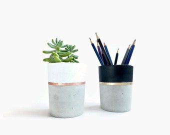Concrete pencil holder Planter for succulent gray white black industrial home Decor