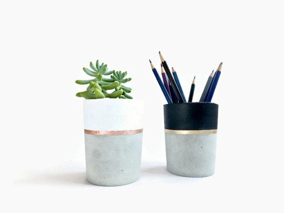 Concrete Pencil Holder Planter For Succulent Gray Beton White