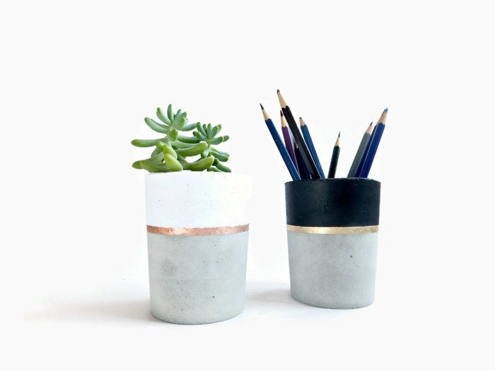 concrete pencil holder planter for succulent gray beton white. Black Bedroom Furniture Sets. Home Design Ideas