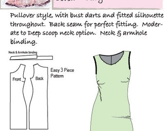 Hourglass Patterns© Simply Sleeveless Knit Dress with Bust Darts S/M/L