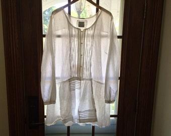 Summer Whites Upccycled Tunic Shirt/ by Breathe-Again Clothing