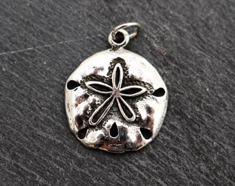 Small Sand Dollar Charm, Sterling Silver, Small Sand Dollar, Pendant, Ocean Pendant, Ocean Charm, Beach Jewelry, 925
