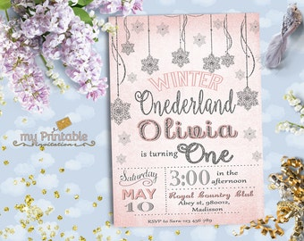 Winter Onederland Invitation / Digital Printable Invite for Kids / first birthday Party / DIY 1st