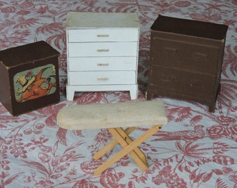 Vintage Cardboard Dollhouse Furniture Dresser TV Ironing Board
