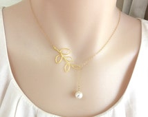 Bridesmaid Branch Pearl Necklace, Silver or Gold Branch Necklace, Brides Necklace, Swarovski White Pearl Necklace,Lariat Necklace,StampedEve