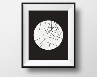 minimalist art print, black and white wall print, geometric print wall, print wall art