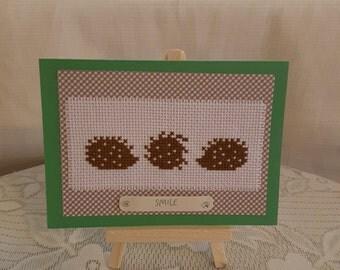 cross stitch handmade hedghog card