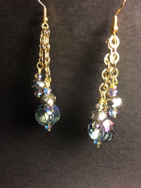 sparkly blue dangle earrings