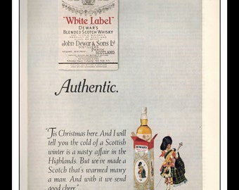 "Vintage Print Ad December 1969 : Dewar's White Label Blended Scotch Whiskey Wall Art Decor 8.5"" x 11"" Advertisement"