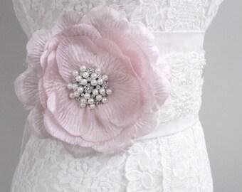 SALE Vintage Style Sash, Silk Sash, Pink Sash, Bridal Sash, Sequin Sash, Pearl Sash, Beaded Sash, Flower Sash, Wedding Sash. Style: Flora