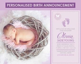 Birth Announcement, Custom Printable Birth Announcement, Girl Birth Announcement, Purple Birth Announcement, Baby Girl, Girl Birth