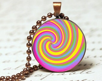 Rainbow swirly spiral pendant necklace, colourful bright pendant