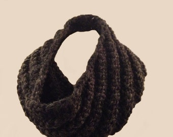 Men's Cowl Scarf, beautiful hand-knit, charcoal gray or burgundy red