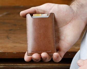 Kangaroo Leather Card Holder, Australian, Light Brown, Mocha, Hand Stitched, Cardholder, Money Clip, Slim, Thin Card Wallet, Personalized