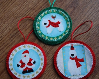 Trio of Christmas Tree Decorations, Felt Decorations, Christmas Decorations, Polar Bear & Santa Decorations
