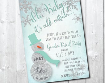 Winter Gender Reveal Party Invitation with Silver Glitter detail / DIGITAL FILE or PRINTING /  wording can be changed