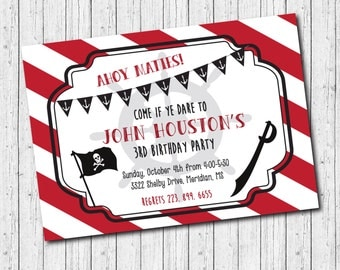 Pirate Birthday Party Invitation / DIGITAL FILE / printable / wording can be added or changed/boy, ahoy, maties, red, black, stripes