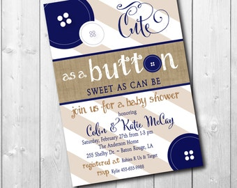 Cute as a Button Baby Shower Invitation/Boy Baby Shower navy, Button Shower Invitation/printable/Digital File/Colors& Wording can be changed