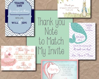 Thank you note to match ANY invitation on my shop/ any size/ wording can be customized/ DIGITAL FILE