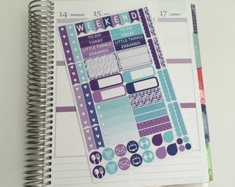 April Planner Stickers - Purples and Blues - Functional Kit