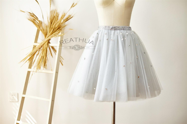 Light Gray Bridesmaid Dresses Knee Length Soft Tulle: Silver Gray Beaded Sequin Tulle Skirt/Short Women Tulle