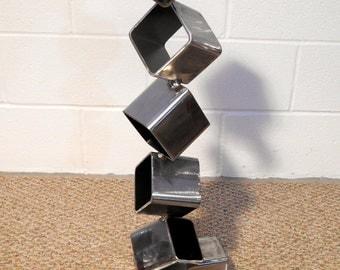 Free-standing Metal Sculpture, Steel Cube Sculpture, Modern Art, Geometric Cube, Square Tower Sculpture, Unique Metal Art, Boyfriend Gift