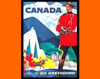 Canada Travel Print 1960s - Vintage Travel Poster Travel Art Reproduction Canada Poster Canadian Print Travel  t