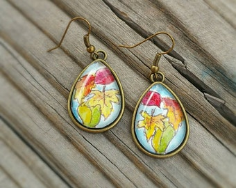Leaf earrings. Autumn leaves earrings, Hand painted,  fall colors, watercolor, set under glass. Wearable art jewelry,  OOAK