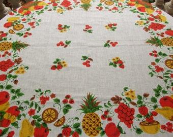 Gorgeous Polish Cottage Chic Fruits Linen Tablecloth / Polish Beautiful Vintage c.1980's Linen Dreamy Fruits Print Linen Tablecloth