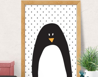 Cute Penguin Nursery Print, Penguin Nursery, Nursery Wall Art, Nursery Wall Decor, Kids Print, Monochrome Nursery Decor, Black White Nursery