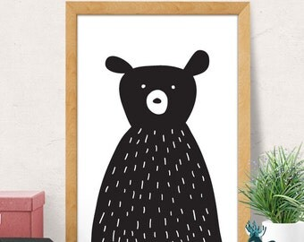 Bear print, Nursery wall art, Modern Nursery decor, Nursery room wall decor, black bear print, Nursery wall decor, Kids room decor, Minimal