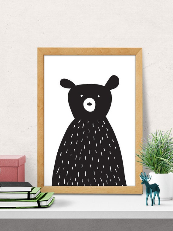 Wall Art Decor Nursery : Bear print nursery wall art modern decor