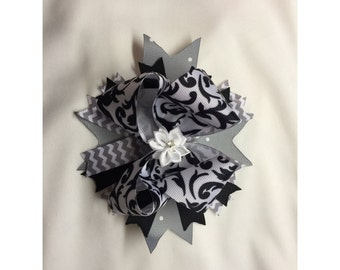 Grey/black/white boutique style hair bow