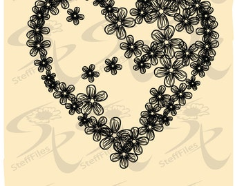Vector LOVE HEART FLOWERS,Clipart,Valentines,svg,dxf,ai, png, eps, jpg,Vector,Download files, Digital, graphical