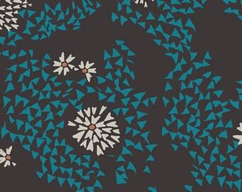 Aqua and Black Modern Geometric Fabric - Etno Pat Bravo Fabric for Art Gallery - Shore Remains Algae - Fabric By the Half Yard