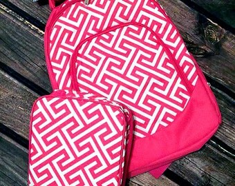 Monogrammed Pink Greek Backpacks and Lunchbox sets