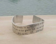 Inspirational quote bracelet, custom stamped jewellery believe in yourself motivational bracelet jewelry that inspires Etsy