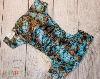 Blue timber cloth diaper / Camo diaper / one-size pocket diaper / daddy's hunter camo diaper