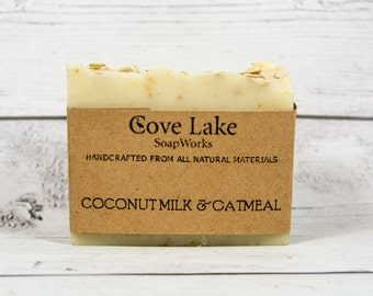 Coconut Milk and Oatmeal Soap.  Unscented Hand Made All Natural Cold Process Soap
