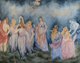 Watercolor Painting, People, Narrative, Springtime Galaxy