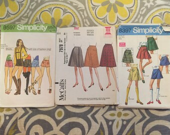 60's-70's womens shorts and skirts patterns