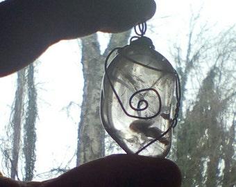 smokey quartz wire wrapped pendant