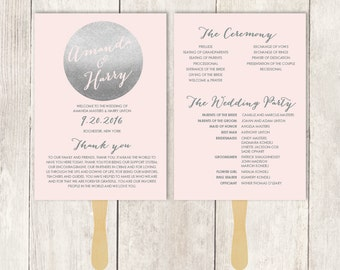 Silver Wedding Program Fan DIY / Metallic Silver and Blush Pink / Blush Bridal Schedule ▷ Printable {or} Printed *** ASSEMBLY REQUIRED