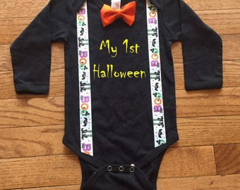 Baby and Toddler Boy Halloween bodysuit with bow tie ghost Boo first halloween