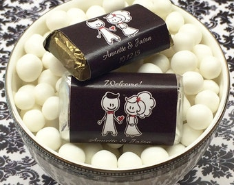 Personalized Cartoon Couple Hershey's Miniatures Chocolates - Pack of 100