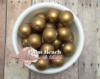 Ten (10) pcs Chunky 20mm Bubblegum Acrylic Matte Pearl Beads GOLD -10pcs